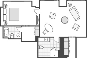 CLUB ONE-BEDROOM SUITE ROOM FLOOR PLAN